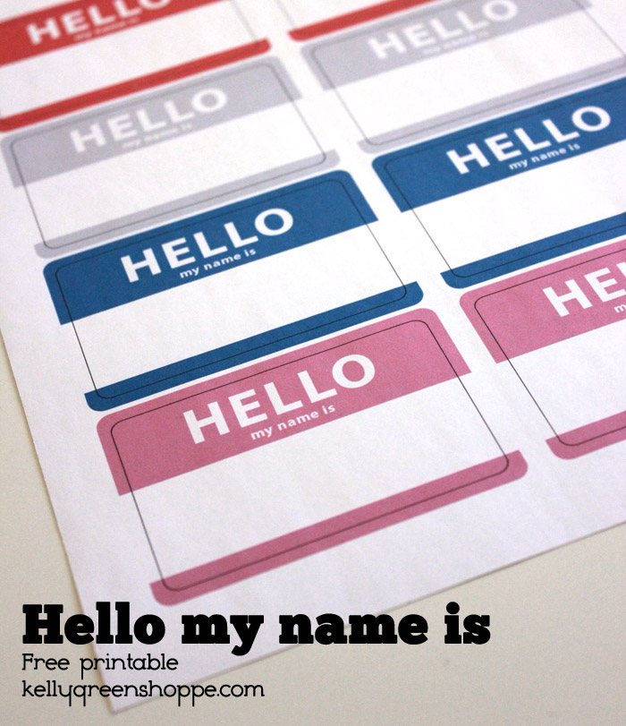 Hello Name Printable Kellygreenshoppe